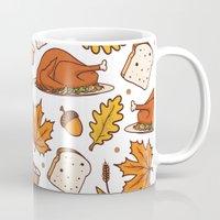 thanksgiving Mugs featuring thanksgiving by Ceren Aksu Dikenci
