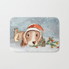 Christmas Puppy Look Bath Mat