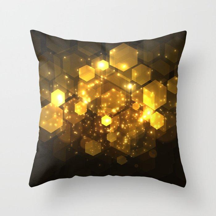 Shiny Gold Hexagon Geometric Patterns Deko-Kissen