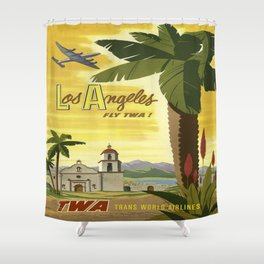 Vintage poster - Los Angees Shower Curtain