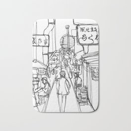 Shinjuku ku, Japan (Continuous Line Drawing) Bath Mat