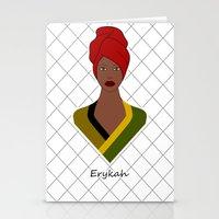 erykah badu Stationery Cards featuring Erykah by ravynka
