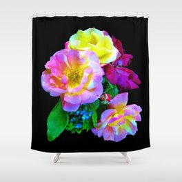 Rosa Yellow Roses on Black Shower Curtain