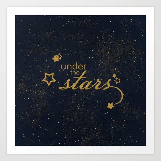 Under the stars- sparkling gold glitter night typography on #Society6 Art Print