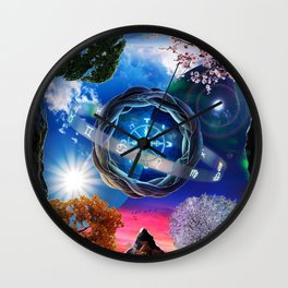X . The Wheel Tarot Card Illustration Wall Clock