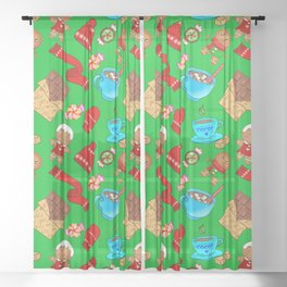 Cozy winter time. Cute decorative pattern. Gingerbread men, chocolate, red mittens, candy, hot cocoa Sheer Curtain