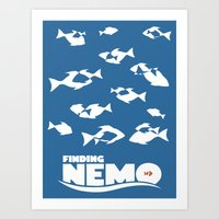 nemo Art Prints featuring Finding Nemo by Citron Vert