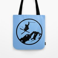 skiing Tote Bags featuring skiing 3 by Paul Simms
