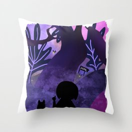 Beautiful Cat Lover with Girl Watching Fireflies in Forest Throw Pillow