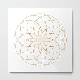 Minimalist Sacred Geometric Circular Flower in Gold and White Metal Print