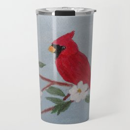 Red Cardinal Perched on Dogwood Flower Branch Acrylic Painting by Rosie Foshee Travel Mug