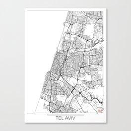 Tel Aviv Map White Canvas Print