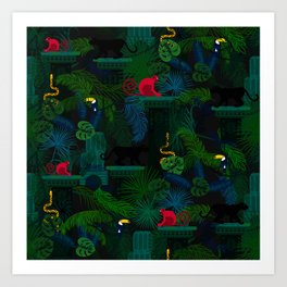 Animals in the jungle on the ruins Art Print