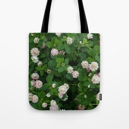 Clover flowers green and white floral field Tote Bag