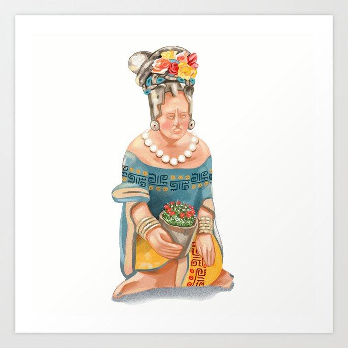 Mesoamerican Seated Woman Art Print