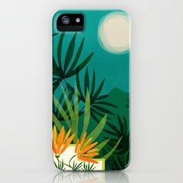 Tropical Moonlight / Night Scene Illustration iPhone Case