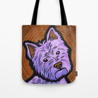 westie Tote Bags featuring Purple Westie by Gianna Brucato