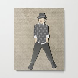 Boys formal wear gray argyle Metal Print