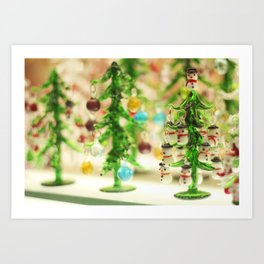 Snowmen Christmas trees Art Print