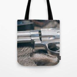 Closeup of powerful handgun. Pistol Revolver Handgun Tote Bag
