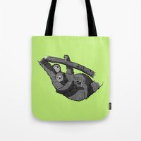 newspaper Tote Bags featuring Newspaper Sloths by Doolin