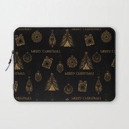 Christmas Golden pattern on black background. Laptop Sleeve
