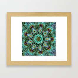 Colorful Peacock Feather Kaleidoscope Framed Art Print