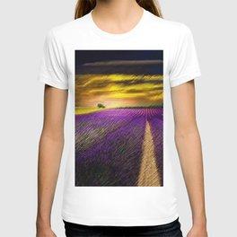 Sunset over Lavender Fields Landscape Painting by Jeanpaul Ferro T-shirt