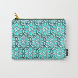Symmetrical Flower Pattern in Turquoise Carry-All Pouch