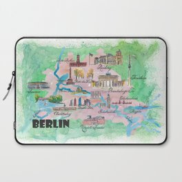 Berlin Germany Map Travel Poster Overview Best Of Typical Highlights Laptop Sleeve