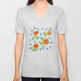 Dark Floral: Marigolds and Borage Unisex V-Neck