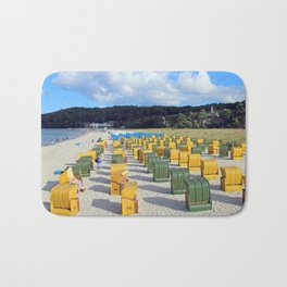 Beach chairs, yellow green Bath Mat
