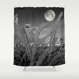 Snow crystals with moon Shower Curtain