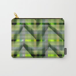 Neon Green checkers paper fold Carry-All Pouch