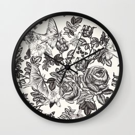 Elegant floral vector vintage pattern with roses, flowers and butterflies Wall Clock