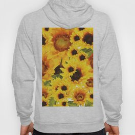 Wild yellow Sunflower Field Illustration Hoody