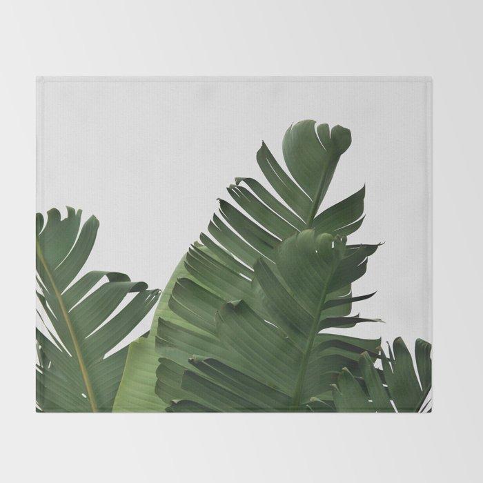 Minimal Banana Leaves Throw Blanket