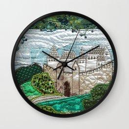 Old castle in blue Wall Clock
