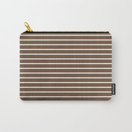 Horizontal Lines (White/Coffee) Carry-All Pouch