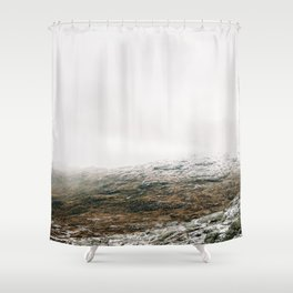 White winter mountain landscape | Norway travel photography print | Trolltunga Wanderlust art Shower Curtain