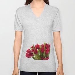 Water sprinkled cut red tulips Unisex V-Neck