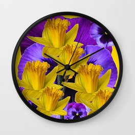 YELLOW DAFFODILS AGAINST PURPLE PANSIES Wall Clock