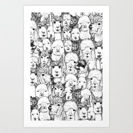 just alpacas black white Art Print