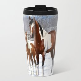 Bay Paint Horse Mare and Foal In Winter Travel Mug