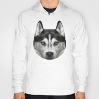 husky Hoodies featuring Husky // Blue by peachandguava