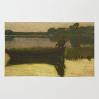 homer Area & Throw Rugs featuring Sunset - Winslow Homer by BravuraMedia