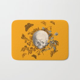 FLORAL SKULL and BUTTERFLIES Bath Mat