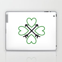 St. Patrick's Day Shamrock Lucky Charm Green Clover Veart with Arrows Laptop & iPad Skin