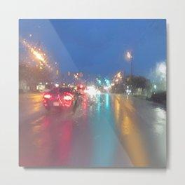 """ RAINY NIGHT DRIVE "" Metal Print"