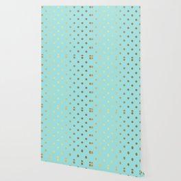Gold polka dots on aqua background - Luxury turquoise pattern Wallpaper